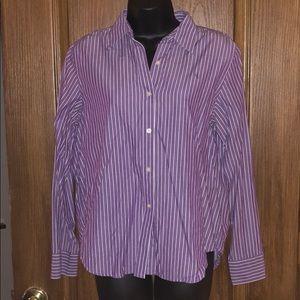 Ralph Lauren Purple Striped Button Up Shirt
